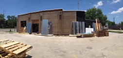 A panorama shot of the side of the building.
